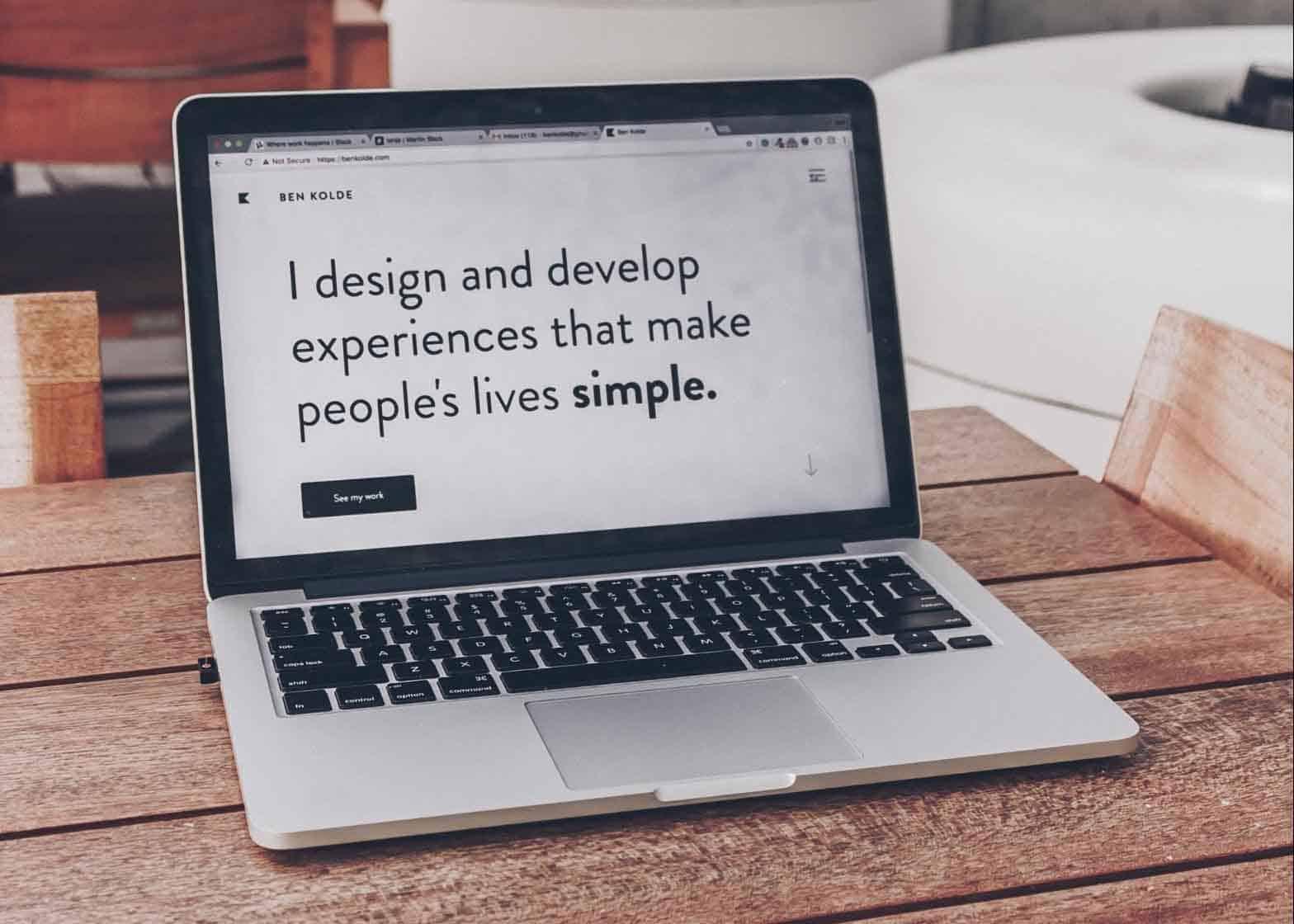 website opened on laptop