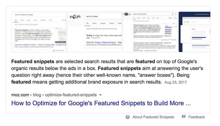use featured snippets as a marketing approach
